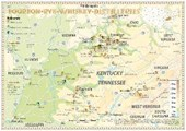 Bourbon-Rye-Whiskey Distilleries in Kentucky-Tennessee - Tasting Map 34x24cm