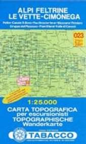 Tabacco Wandern 1 : 25 000 Alpi Feltrine Le Vette - Cimònega