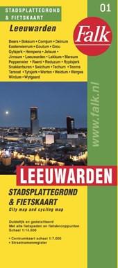 * Falk stadsplattegrond & fietskaart Leeuwarden 2018-2019, 23e druk met fietsknooppunten