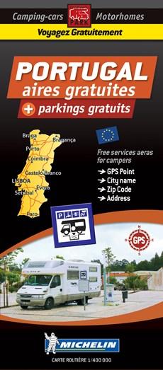 Portugal Motorhome Stopovers - Portugal aires gratuites 1:1m Michelin Camper stopplaatsen Trailer's Park kaart