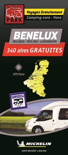 Benelux Motorhome Stopovers  - Benelux aires gratuites 1:400.000 Michelin Camper stopplaatsen Trailer's Park kaart