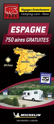 Spain Motorhome Stopovers - Espagne aires gratuites 1:1m Michelin Camper stopplaatsen Spanje Trailer's Park kaart