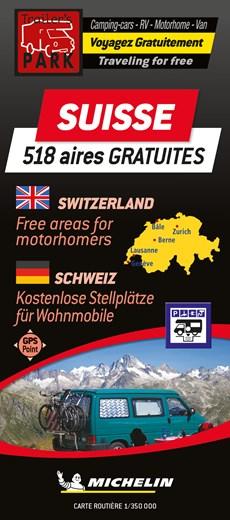 Switzerland Motorhome Stopovers - Suisse aires gratuites 1:350.000 Michelin Camper stopplaatsen Trailer's Park kaart