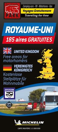 United Kingdom Motorhome Stopovers - Royaume-Uni aires gratuites 1:1M Michelin Camper stopplaatsen Groot-Brittannië Trailer's Park kaart