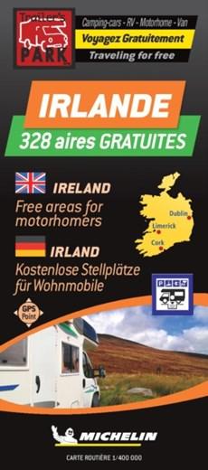 Ireland Motorhome Stopovers - Irlande aires gratuites 1:400.000 Michelin Camper stopplaatsen Trailer's Park kaart