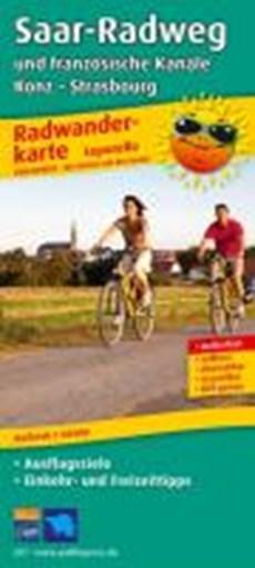 Saar-Radweg und französische Kanäle, Trier - Strasbourg Leporello Radtourenkarte 1:50 000